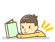 猫背姿勢のまま読書をしている男の子のイラスト|高砂市まえかわ整骨院