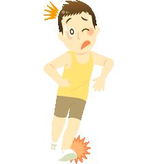 スポーツ中に足首をいためてしまった男性のイラスト|高砂市まえかわ整骨院